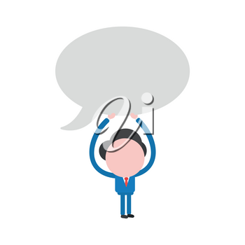 Vector illustration businessman character holding up blank speech bubble icon.