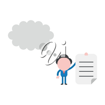 Vector illustration businessman character holding written paper with blank thought bubble.