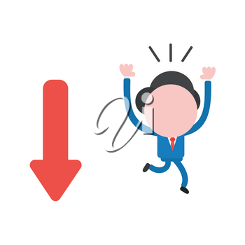 Vector illustration businessman character running away from arrow moving down.