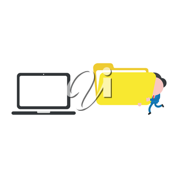 Vector illustration businessman character walking and carrying open file folder to laptop computer.
