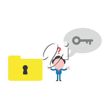 Vector illustration confused businessman character  saying key with speech bubble to unlock file folder keyhole.