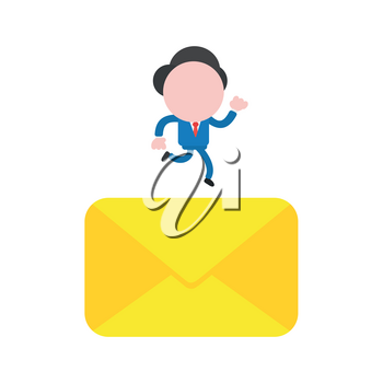Vector illustration businessman character running on closed mail envelope.