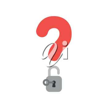 Vector illustration concept of red question mark icon with padlock and key unlock.