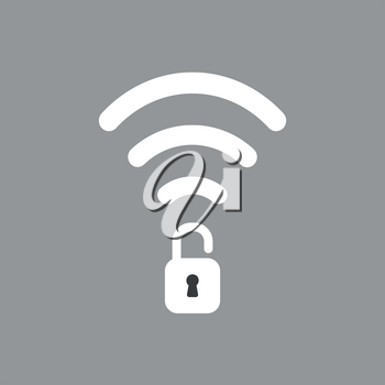 Flat vector icon concept of wireless wifi symbol with opened padlock on grey background.