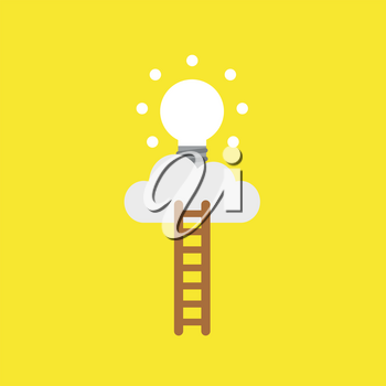 Flat vector icon concept of wooden ladder and glowing light bulb on cloud on yellow background.