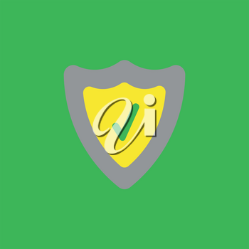 Flat vector icon concept of guard shield with check mark on green background.
