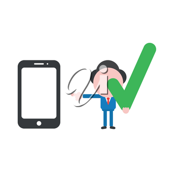 Vector illustration businessman character holding check mark and pointing smartphone.