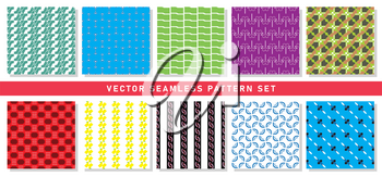Vector seamless pattern texture background set with geometric shapes in green, blue, white, purple, brown, red, yellow, black and pink colors.