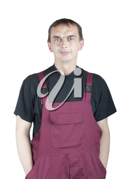 Royalty Free Photo of a Man in Coveralls