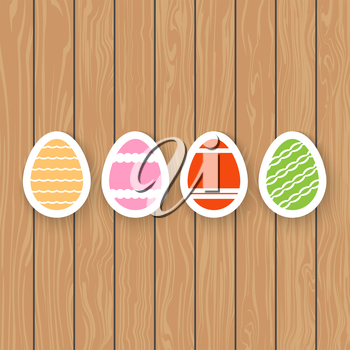 Easter eggs on a wooden background. Vector illustration .