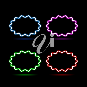 Set of neon banners on a black background. Vector illustration .