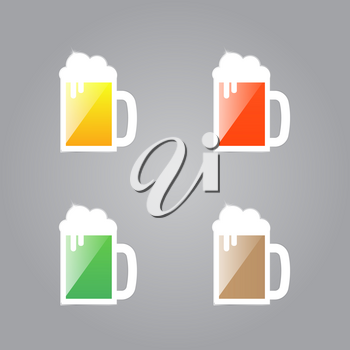 Shiny glasses of beer on a gray background. Vector illustration .