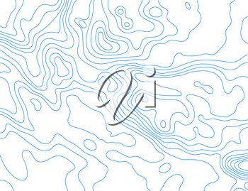 Blue lines of the relief map on a white background. Vector illustration .