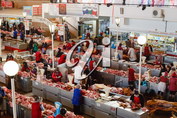 GOMEL, BELARUS - JAN 25: a meat market in Gomel, January 25, 2014. This is an example of existing food market in Belarus