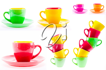 Set, Collage Yellow, Red, Green Color Cups. Leaning Tower Stack Of Clean Different Cups Isolated On White Background