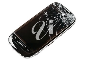 Black Mobile Smart Phone With Cracked Broken Screen Isolated Over White Background