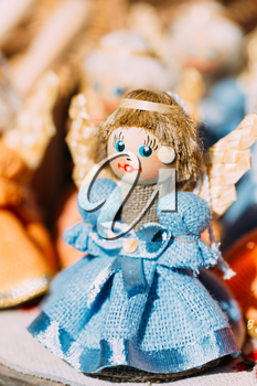 Colorful Belarusian Straw Doll At Local Market. Straw Dolls Are Most Popular Souvenirs From Belarus And Symbol Of Country's Culture