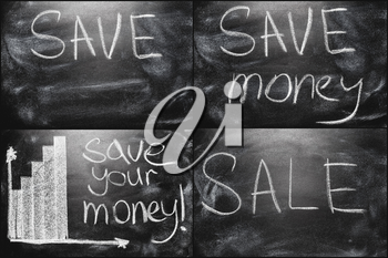 Black Chalkboard Set Collage With Business Message