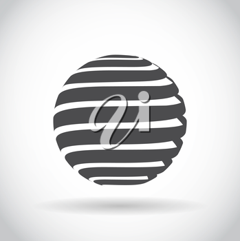 Abstract swirl sphere globe symbol, business concept template of isolated round icon with shadow on white background. Business, corporate, office and marketing item icon