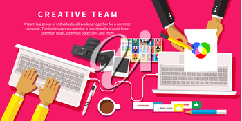 Creative team. Young design team working at desk in creative office flat design style
