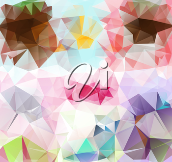 Triangle background with bright lines. Pattern of crystal geometric shapes. Multicolor mosaic banner. Abstract background