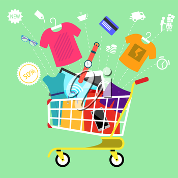 Concept for online shopping and e-commerce with shopping cart full of goods with discount and colorless shopping pictograms