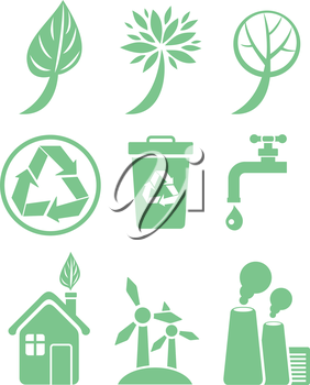 Green energy and ecology icon set in green color on white background