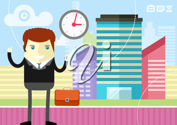 Happy businessman showing clock on city  background flat design style