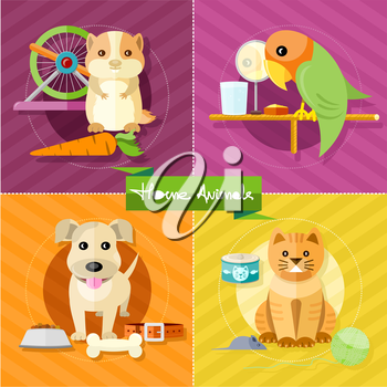 Icon set with animals silhouettes of pets on multicolor stylish banners. Hamster, parrot, cat and dog in flat design cartoon style