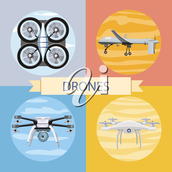 Drone flying for aerial photography or video shooting. Set of different quadrocopters icons. Concept in flat design style. Can be used for web banners, marketing and promotional materials, presentatio