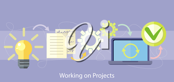 Working on project concept. Business plan concept icons in flat style. Product idea. Project management and strategy.