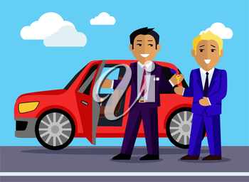Illustration of a man buys a new car. Automobile sale, sell  transport, dealer and customer,  salesman and vehicle, purchase and seller, buyer and agent illustration