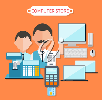 Modern computer store concept flat design. Electronic shop, tv retail, keyboard and laptop, dealer and cash register, business technology, sale and marketing, market commerce illustration