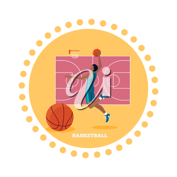 Basketball sport team concept icon flat design. Ball and game, competition play, activity recreation, championship and basket, leisure and tournament, training athletic illustration