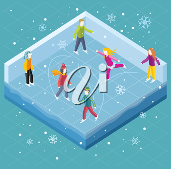 Ice rink with people isometric style. Ice skating, sport winter, skate and skating, cold season, outdoor activity, lifestyle motion, skater exercise, speed active recreation illustration