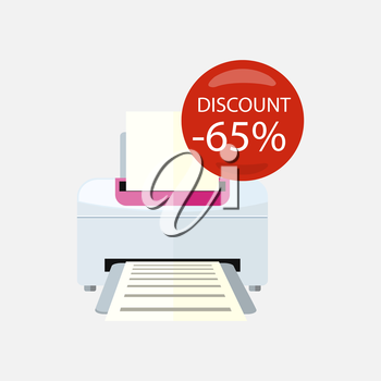 Sale of household appliances. Electronic device red bubble discount percentage. Sale badge label. Office appliances flat style. Printing, printer icon, printing press, office printer, computer, copier