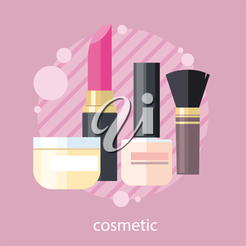 Cosmetic set flat design object. Beauty makeup, cosmetic products, cosmetics package, lipstick and perfume, spa fashion, brush product, glamour bottle, shampoo and powder illustration banner