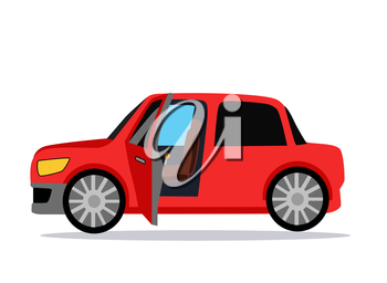 Car icon. Car icon object. Car logo. Car Icon giraphic. Red car. Auto car flat style. Car with shadow. Car on white background. Concept car. New car. Vector logo car. Buy car. Rent car. Car open door