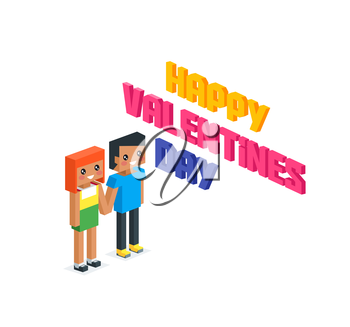 Happy valentine day couple 3d isometric. Valentines day, happy valentine, young couple, happy couple, valentine couple in love, isometric 3d couple people, romantic relationship lover illustration