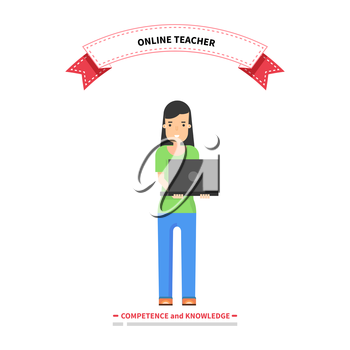 Online teacher competence and knowledge. Teacher education, school teaching online, professor study internet, study web, course training online, technology online, professional teacher illustration