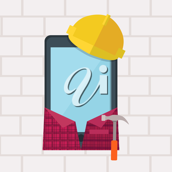 Phone in working clothes design flat. Communication device in the form of a smartphone builder. Phone in protective helmet and with a hammer isolated on background of a brick wall. Vector illustration
