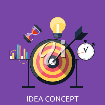 Idea concept background. Glowing light bulb as inspiration concept. Light sign ideas. Vector lightbulb icon. Creative idea in bulb shape. New idea logo. Arrow hit the center