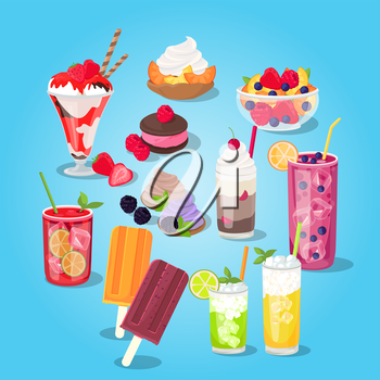 Large set of sweets food. Pastries with berries and cream, cake and ice cream on a stick in a cup of glass. Collection cooling fruit drinks with ice cubes isolated on background. Vector illustration