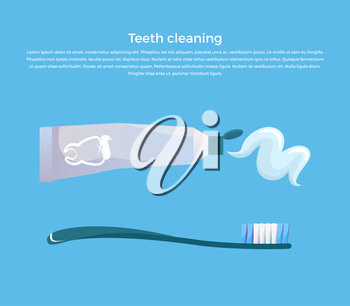 Teeth cleaning concept design banner flat. Template poster on brushing. Toothpaste and brush. Dental cleaning hygiene and health care or oral healthy stomatology. Vector illustration