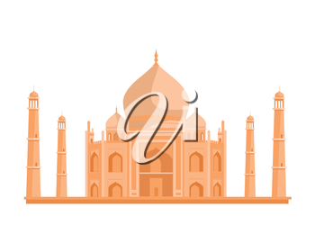 Travelling India famous historical attractions vector. Summer vacation in exotic countries concept. Tadj Mahal in Flat Design. Acient Indian muslim architecture illustration. Isolated on whitre.