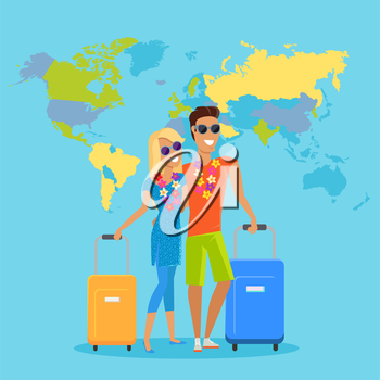People traveling summer vacation vector in flat design. Honeymoon in exotic countries concept. Young man and woman with necklace of flowers embracing and holding suitcases on world map background.