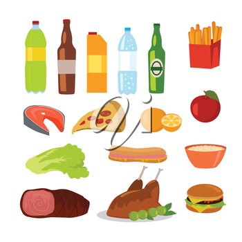 Healthy and unhealthy food. Editable food icons of healthy and junk food isolated on white. Drinks and beverages. Part of series of promotion healthy diet and good fit. Vector illustration