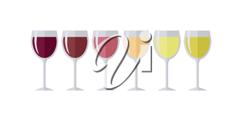 Glasses with different types of wine. Degustation or tasting. Check elite vintage strong vine. Winemaking concept. Vine icon or symbol. Part of series of viniculture production items. Vector