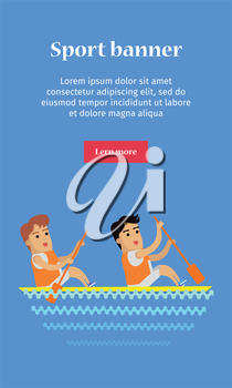 Canoe rowing, sports banner. Two man in sports uniform rowing in canoe on river. Vector background for web, print and other projects. Summer olympic games background.
