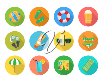 Set of summer vector icons. Volleyball, ice cream, sunglasses, shorts, mattress, drink, parasol, swimsuit, sun cream, rescue circle, mask and fins flat illustrations For app buttons infogpaphic